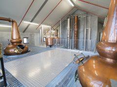 Cardrona Distillery and Museum interior steel platform with copper stills