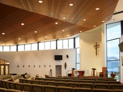 Holy Family Catholic Church Wanaka interior facing altar with seating