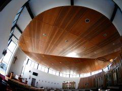 Holy Family Catholic Church Wanaka interior wooden ceiling fisheye view