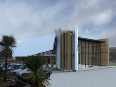 Lakes District Gallery exterior render of art gallery carpark and building
