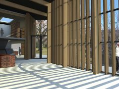 Lakes District Gallery interior render of foyer with timber louvre facade