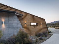 Buchanan Rise house exterior horizontal cedar cladding with concrete block