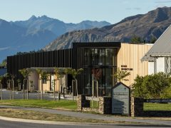 Wanaka Community Hub exterior with mountains in background