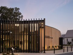 Wanaka Community Hub entrance with exterior black vertical louvre facade