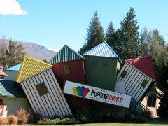Puzzling World Wanaka exterior coloured towers