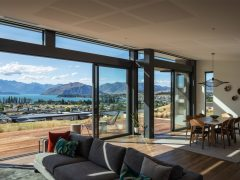 Ruby Ridge House living room interior with a view to Lake Wanaka