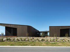 Ruby Ridge House exterior angled buildings with cedar cladding