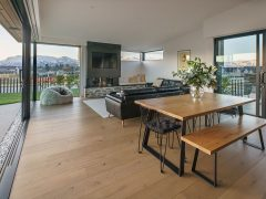 Bargour Residence interior open plan living and dining with wood floors