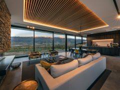 Bendigo Terrace House interior lounge schist fireplace